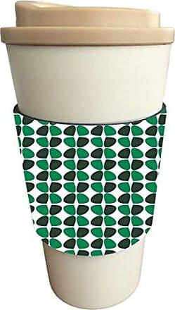Rikki Knight Petals Leaves Deep Emerald Green Greens Blacks Fall Winter Design Latte Beverage Insulator, Black