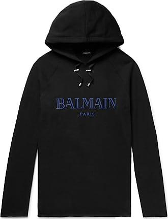 Balmain Logo-print Loopback Cotton-jersey Hoodie - Black