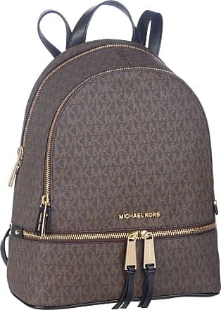Michael Kors Rucksack / Daypack Rhea Zip Medium Backpack MK Signature Brown/Black