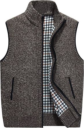 YOUJIA Mens Sleeveless Knitted Vest Plush Lining Waistcoat Cardigans Sweater Tank Tops (Khaki, CN 3XL)