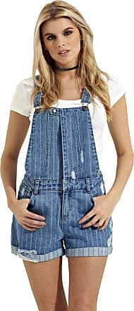 Urban Bliss Denim Dungaree Shorts - Woven Stripe Overall Shorts with abrasions Popper Front WOODLY-8