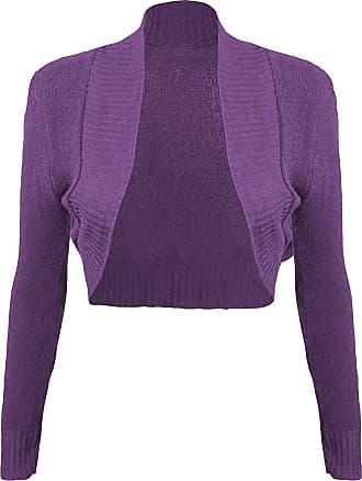 Momo & Ayat Fashions Ladies Girls Knitted Bolero Plain Ribbed Collar Shrug UK Size 8-14 (S/M (UK 8-10), Purple)