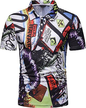 Whatlees Mens Casual Short Sleeve Print Hip Hop Polo Shirt Stylish T-Shirt 02010038X13+S