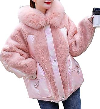 VITryst Womens Ultra Lightweight Thicken Block Color Fur Hooded Packable Puffer Down Jacket,Pink,X-Small