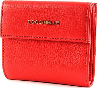 COCCINELLE Metallic Saffiano Zip Around Wallet Geldbörse Coquelicot Rot
