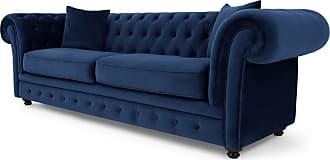 MADE.COM Branagh 3-Sitzer Sofa, Samt in Cyanblau