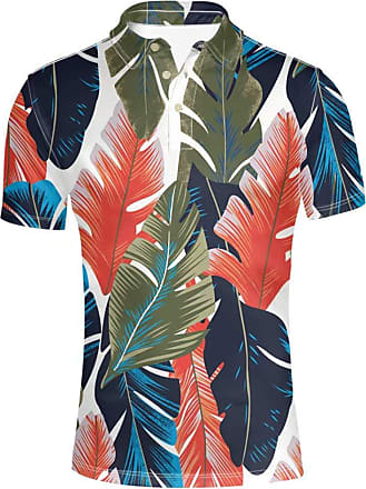 Coloranimal Tropical Style Mens Short Sleeve Polos Green Leaves Printed Big and Tall Casual Shirts Comfortable Top Tees