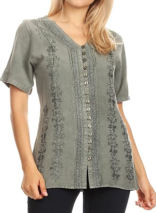 Sakkas 1665 - Estella Womens Short Sleeve V Neck Button Down Top Blouse with Embroidery - Light Grey - L