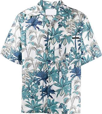 Prada Camisa com estampa de palmeiras - Azul