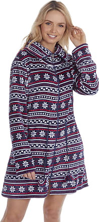 Forever Dreaming Ladies Fair Isle Flannel Fleece Zipped Shortie Nightshirt/Dressing Gown. Red or Blue. Szes S M L XL (XL 18-20, Blue)