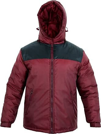 Parsa Fashions Mens Jacket Stylish Padded Shell Contrast Puffer Bubble Warm Thick Coat Jackets M-XXL (XXL, Wine - Black)