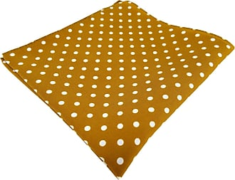 TigerTie designer silk handkerchief in goldbrown white polka dot - handkerchief 100% silk