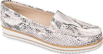 Valleverde 11108 Womens Lace-Free Loafers in Python Leather White Size: 8.5 UK