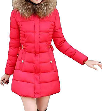 VITryst Womens Thicken Puffer Hooded Zipper Warm Mid Length Down Outwear Jackets with Pockets,Red,X-Large