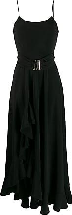 Blanca Maxi vestido com fenda e babado - Preto