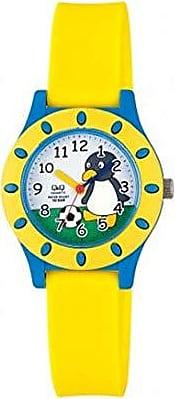 Q&Q Relógio Infantil Masculino Amarelo e Azul Fundo Pinguim +NF