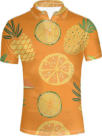 Hugs Idea Mens Hawaiian Shirt Button Down Sport T-Shirt Lemon Pinapple Short Sleeve Clothing