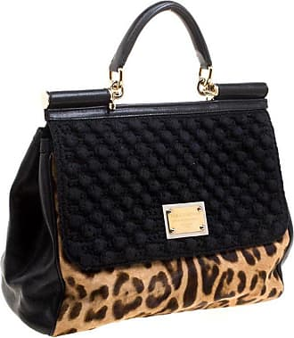 398c27d91e2b Dolce   Gabbana Dolce And Gabbana Black Leopard Print Calf Hair And Crochet  Miss Sicily Tote