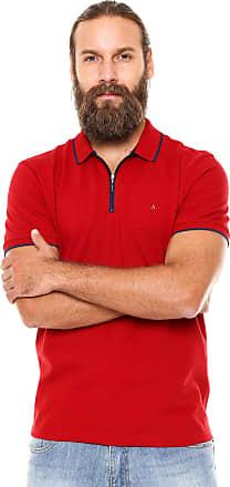 Aramis Camisa Polo Aramis Regular Fit Zíper Vermelha