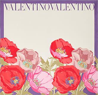 Valentino Garavani Valentino Garavani Flower Print Silk Twill Foulard 90x90 Cm / 35.4x35.4 In. Women Ivory Silk 100% OneSize