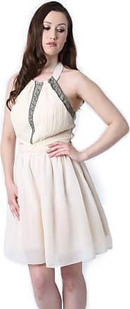 Little Mistress Halterneck Embellished Prom Dress (Size 10) Cream