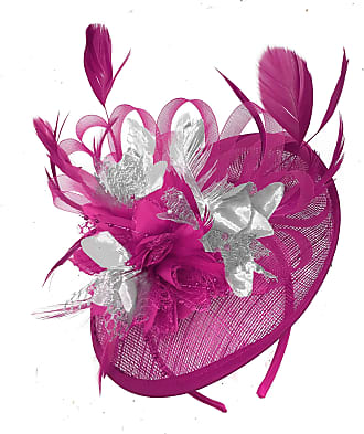 Caprilite Fuchsia Hot Pink and Silver Sinamay Disc Saucer Fascinator Hat for Women Weddings Headband