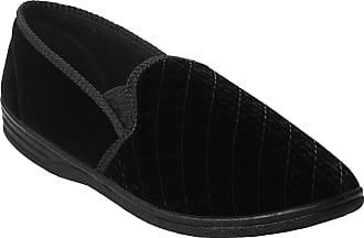 Zedzzz Mens Gents Twin Gusset Elastic Slip On Velour Faux Leather Slippers Size UK 7-14 (10 UK, Black Velour)