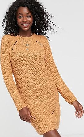 Brave Soul Pointelle-Pulloverkleid in Camel-Beige