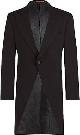 Dobell Mens Black Morning Suit Tailcoat Regular Fit 100% Wool Peak Lapel Herringbone Detail Classic Wedding Jacket-48R