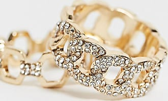 Asos Curve ASOS DESIGN Curve - Confezione da 2 anelli color oro a catena con strass