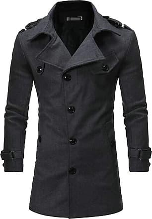 H&E Mens Lapel Outwear Slim Fit Wool-Blend Single Breasted Fleece Trench Coat Pea Coat Dark Grey Large