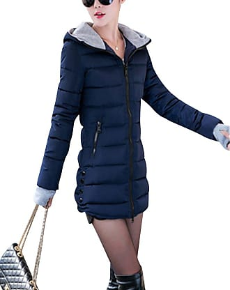ZongSen Womens Long Down Coat Hooded Ultralight Packable Jacket Warm Coats Outwear Navy XL