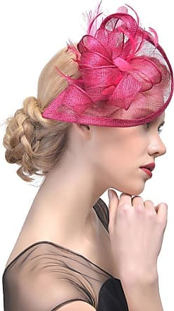 QUINTRA Women Flower Mesh Ribbons Feathers Headband Cocktail Tea Party Hat Headwear (Hot Pink)
