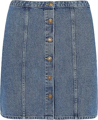 Yours Clothing Clothing Womens Denim Button Through Skirt Size 30-32 Blue
