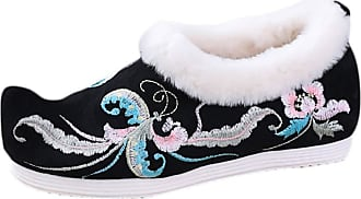 ICEGREY Womens Chinese Style Embroidered Mary Jane Shoes Fleece Loafers Phoenix Black 5.5