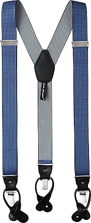Jacob Alexander Mens Houndstooth Y-Back Suspenders Braces Convertible Leather Ends Clips - Navy