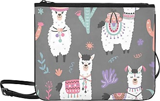 Yushg Shoulder Bag Zipper Cartoon Llama Alpaca Seamless Hand Adjustable Shoulder Strap Colorful Clutch Bag For Women Girls Ladies Medium Crossbody Bags Cros
