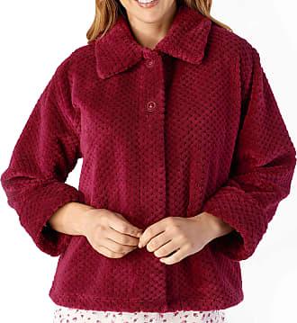Slenderella Ladies 24/61cm Soft Thick Dark Pink Waffle Fleece Collared Button Up Bed Jacket Size Medium 12 14