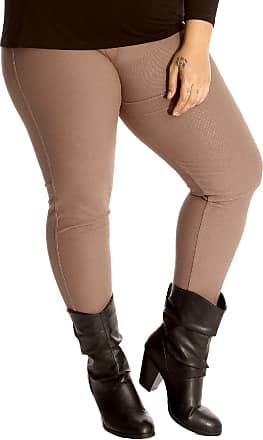 Nouvelle Collection New Womens Plus Size Jeggings Ladies Leggings Full Length Jeans Like Thick Fabric Elasticated Waist Bottoms Mocha 22-24