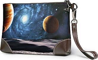 GLGFashion Womens Leather Wristlet Clutch Wallet Space Milky Way View Storage Purse With Strap Zipper Pouch