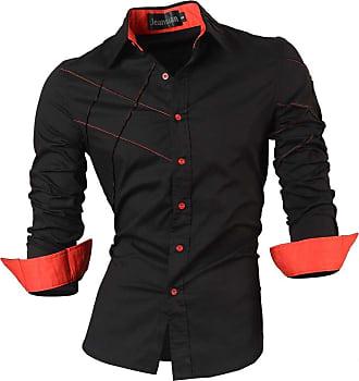 Jeansian Boys Slim Fit Long Sleeves Casual Button Down Dress Shirt JZL003 Black XL