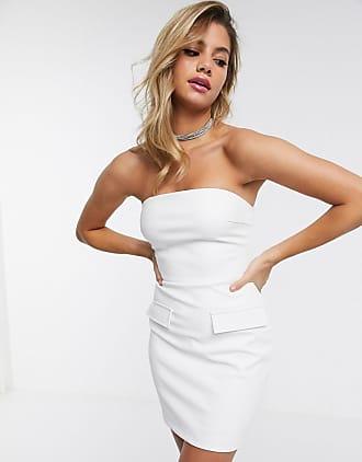 4th & Reckless Korte PU bandeau-jurk in wit