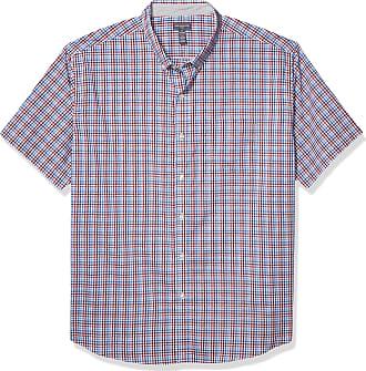 Van Heusen Mens Flex Short Sleeve Button Down Check Shirt, Port Red, Medium