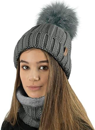 TOSKATOK Ladies Womens Winter Rib Seed Stitch Beanie Bobble Hat with Warm Cosy Fleece Liner & Large Faux Fur Pom Pom - Grey Set