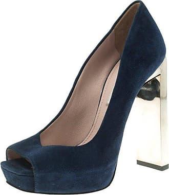 7c2a1cf2d575 Miu Miu Miu Miu Blue Suede Crystal Heel Peep Toe Platform Pumps Size 36