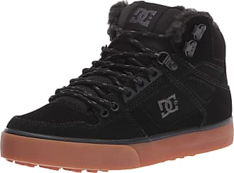 DC Pure High SP ADYS400050 Mens Black Leather Lace Up Athletic Skate Shoes