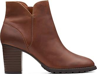 Clarks Womens Ankle Boot Dark Tan Leather Clarks Verona Trish Size 9.5