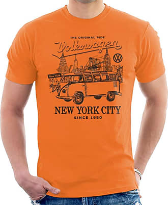 Volkswagen Camper New York City Mens T-Shirt Orange