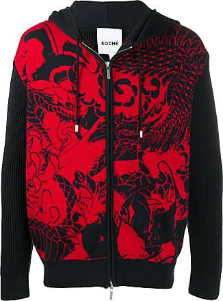 Koché intarsia front hoodie - Preto