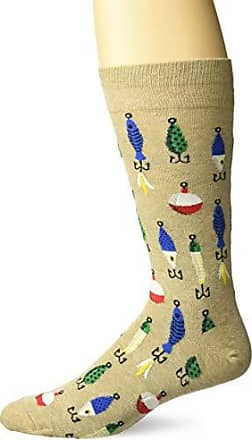 Hot Sox Mens Sealife Series Novelty Casual Crew Socks, Fishing Lures (hemp) Shoe Size: 6-12